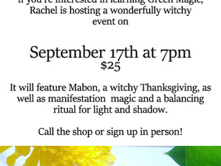 Witchy World Workshop September 17th!