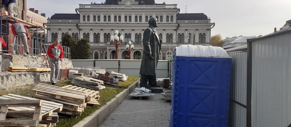 Реставрация памятника В.И. Ленину на площади Свободы в Казани.