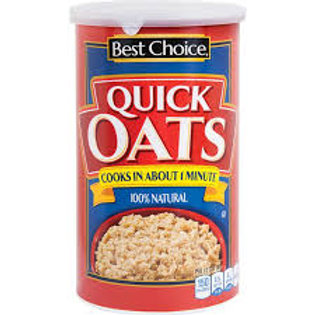Best Choice Quaker Oats 100% Whole Grain Oats 18 oz  Quick 1 Minute Oats