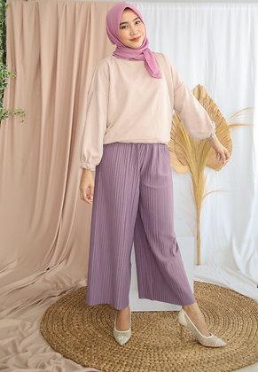 Celana Kulot Plisket Lilac