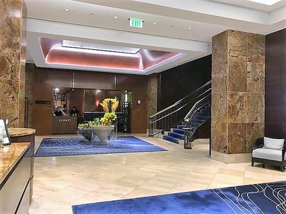 Looking across lobby to restaurant