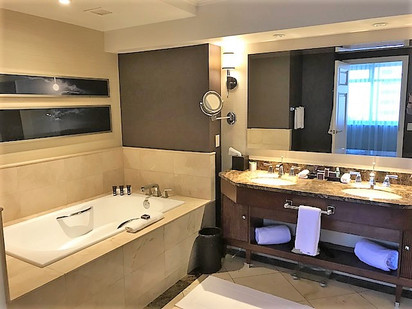 large soaker tub and double vanity