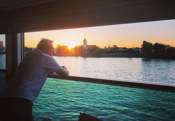 Watching the sun set over Basel from our
