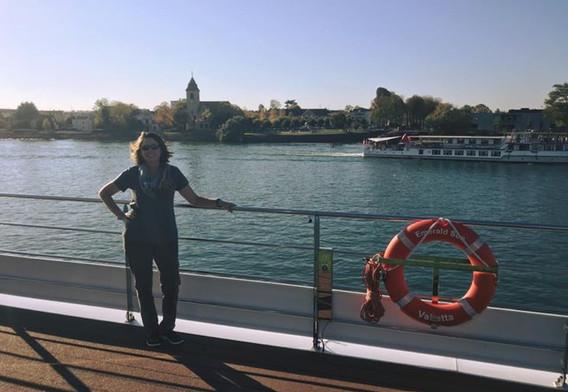Boarding the ship in Basel, Switzerland