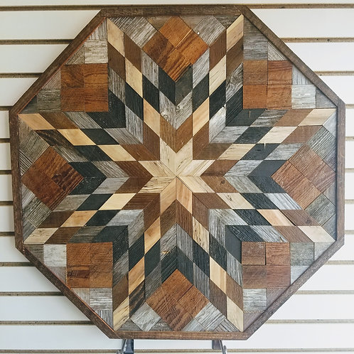 Amish Made Wood Barn Quilt - Large Octagon 30x30""