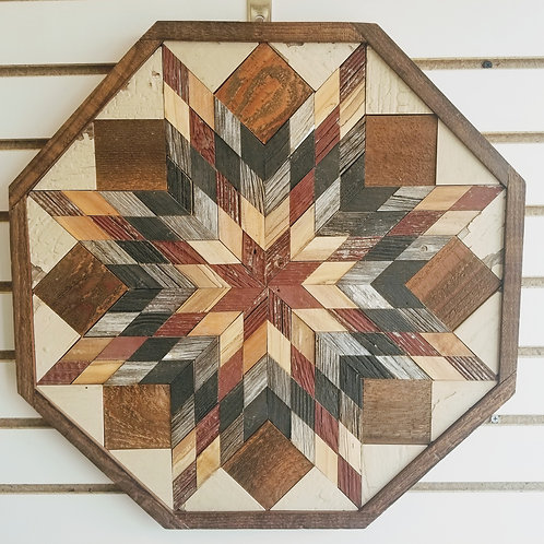"Amish Made Wood Barn Quilt - Medium Octagon 22x22"""