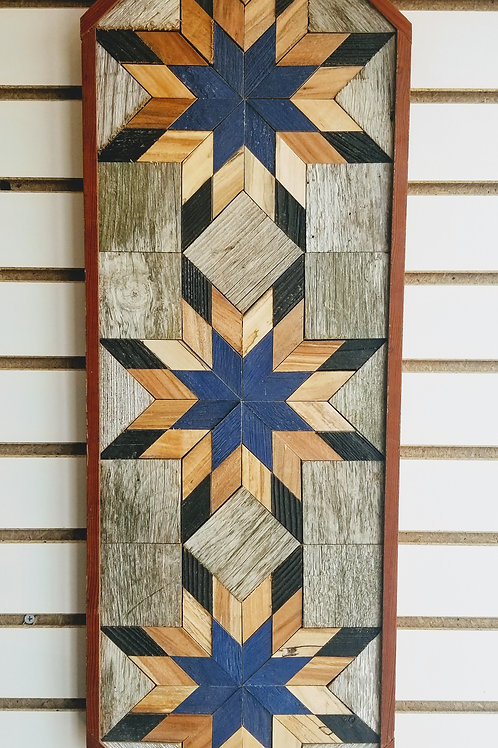 """Amish Made Wood Barn Quilt - Vertical Rectangle with Octagonal Ends 11x30"""""""