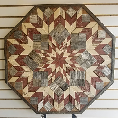 """Amish Made Wood Barn Quilt - Large Octagon 30x30"""""""
