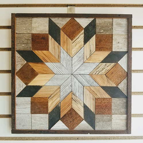 """Amish Made Wood Barn Quilt - Small Square15x15"""""""