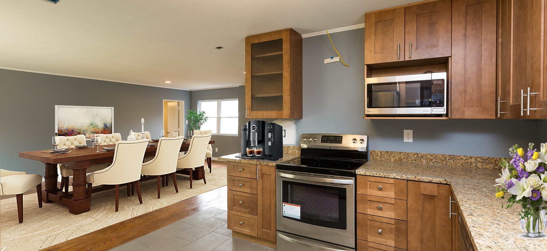 Kitchen/Dining/Living Area (Virtual Staged)