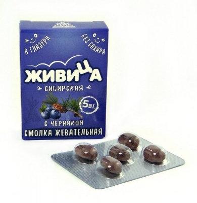"""Smola za žvakanje """"Sibirska Živica"""", dražeje sa borovnicom, bez šećera / 5 kom."""