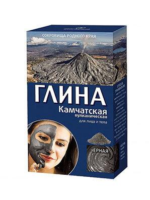 "Glina za lice i telo ""Crna"" Kamčatska vulkanska za zatezanje kože, 100 g"