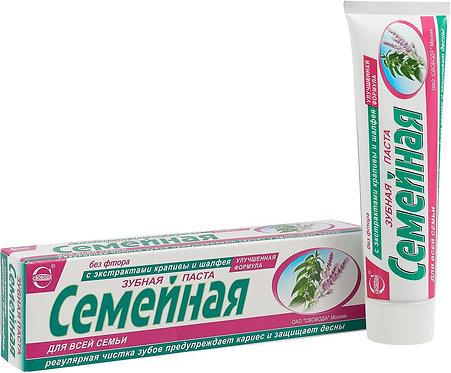 """Pasta za zube """"Porodična"""" sa ekstraktom koprive i žalfije, 124 g."""