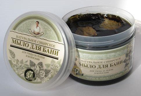 """Prirodni Sibirski Crni sapun """"37 najlekovitijih trava Agafije"""" 500 ml"""