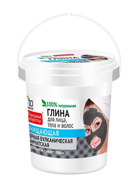 """Crna Kamčatska vulkanska glina serije """"Narodni recepti"""" za čišćenje i matiranje"""