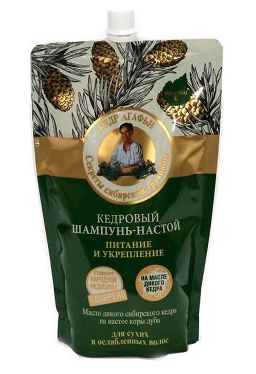 "Serija ""Recepti bake Agafje"" Šampon-tinktura za suvu i slabu kosu kedrov 500 ml"