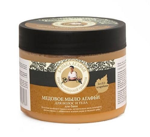 """Gusti sapun za kosu i telo na bazi meda serije """"Agafjina sauna"""", 300 ml"""