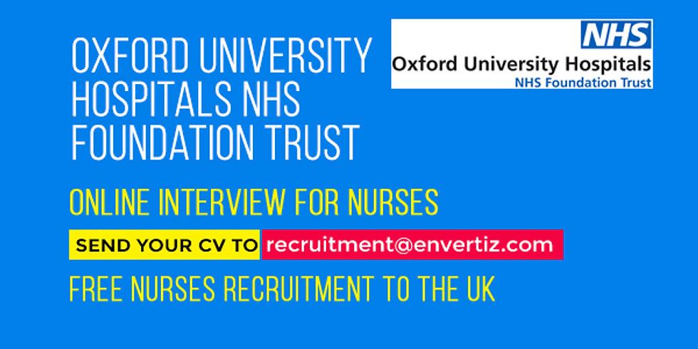 Online interview for nurses Oxford University Hospitals NHS Foundation Trust