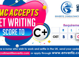 NMC approved the OET writing score to C+.