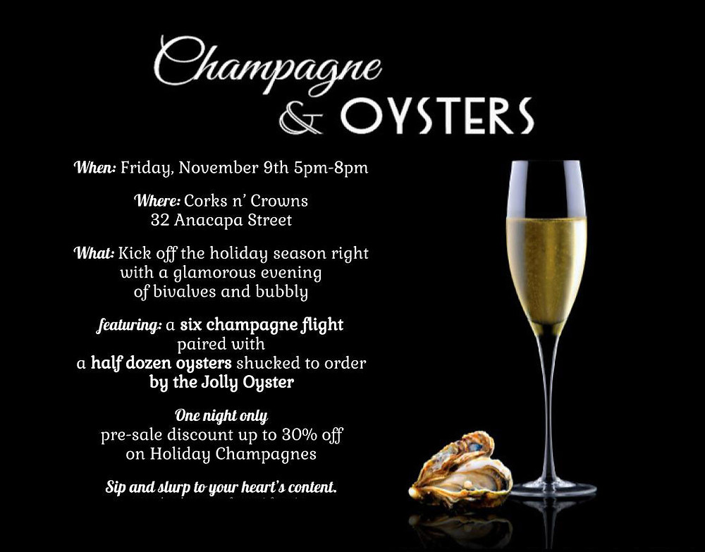 Join us for Champange & Oysters at Corks n' Crowns