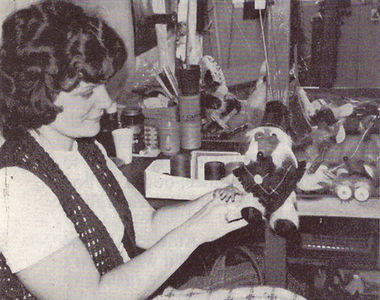 Pam stringing a Womble.