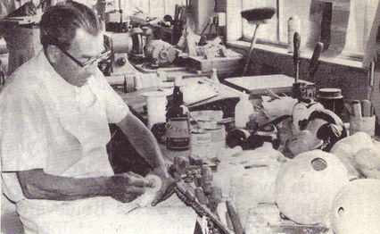 Syd working on larger puppets.