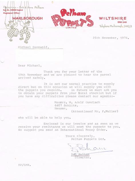 Personal Letter Signed Bob Pelham 1974