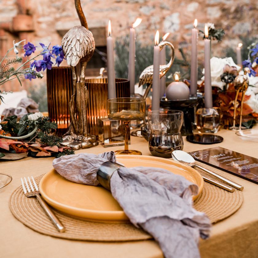 Table setting Mallorca Tischdeko Finca Hochzeit