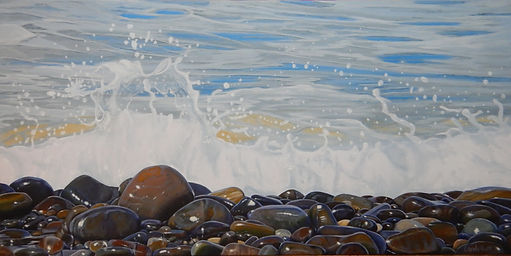 Splashes and sparkles in acrylic by Carole Elliott