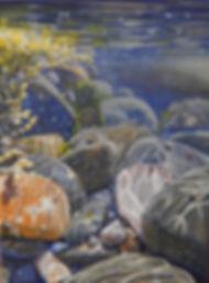 Acrylic rockpool painting by Carole Elliott