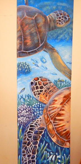 Cruising the Reef - Painted cricket bat by Carole Elliott Artist