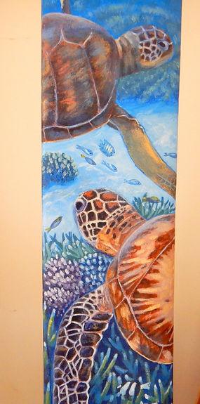 Cruising the Reef - Painted cricket bat by Carole Elliott Artist