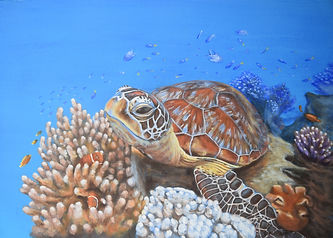 Turtle painting on the Great Barrier Reef by Carole Elliott Artist