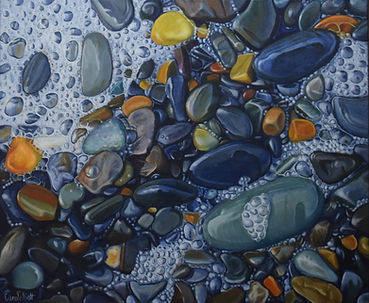 Carole Elliott's acrylic pebble painting with bubbles