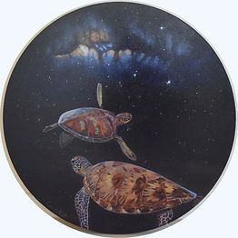 Sea turtle painting of turtles in space by Carole Elliott