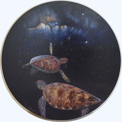 Sea turtle art of turtles in space by Carole Elliott