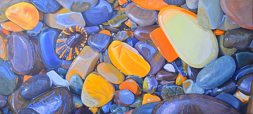Acrylic painting of a pebbly beach by Carole Elliott