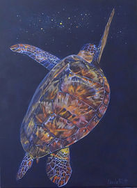 Sea turtlepainting of a turtle in space by Carole Elliott