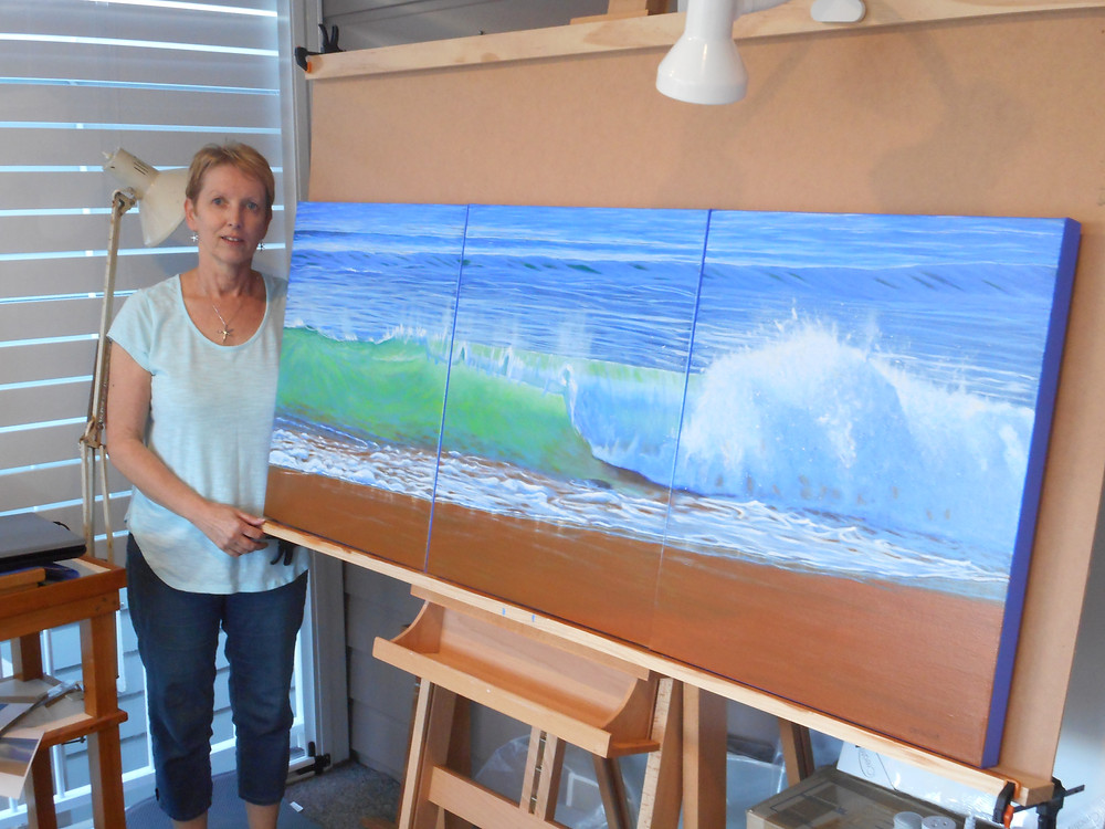 "Carole Elliott with ""Morning Wave"""