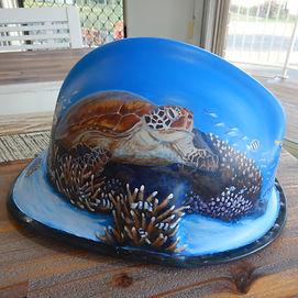 Painted Fire Helmet by Carole Elliott Artist
