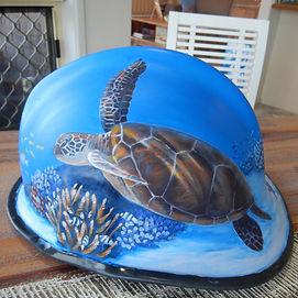 Painted fire helmet by Carole Elliott
