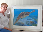 Framed painting of a sea turtle by Carole Elliott