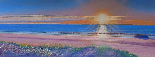 Pastel painting of sunrise over the keppel islands by Carole Elliott