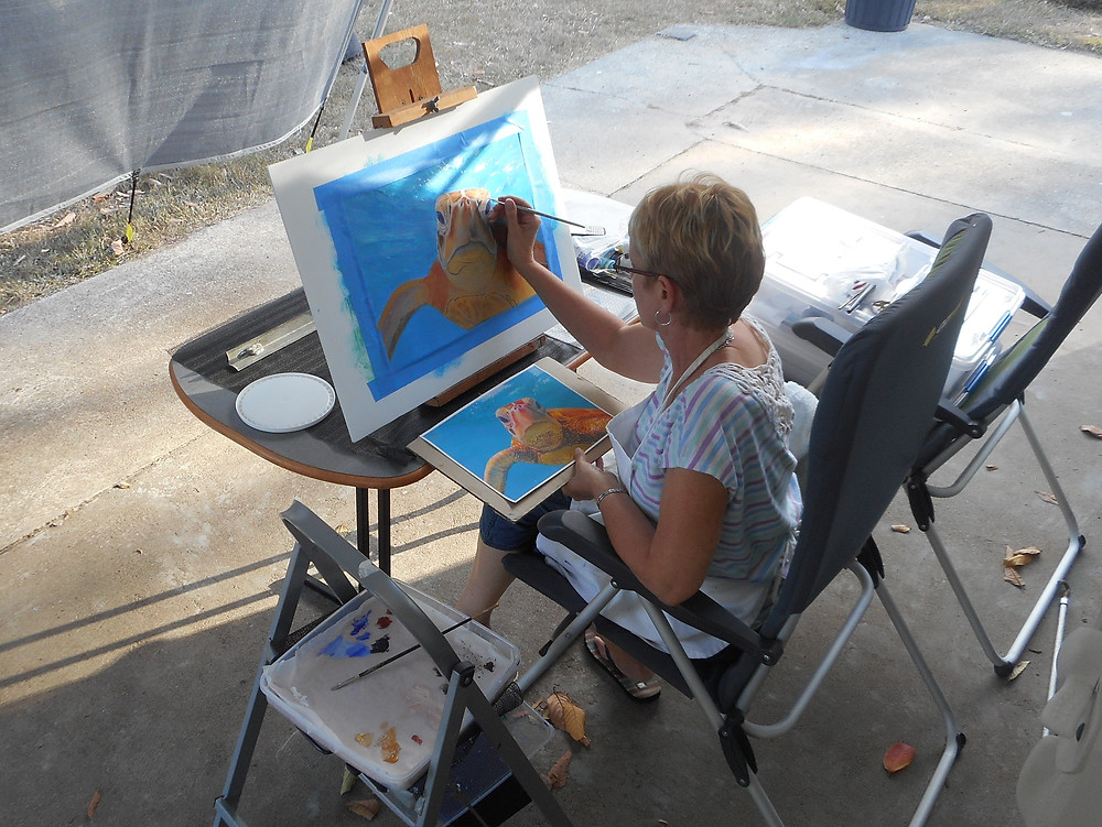 Carole Elliott in her portable studio