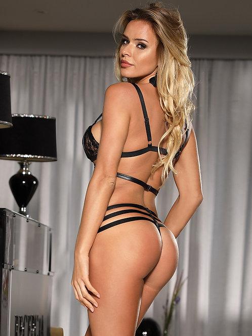 Striped Lace  Bra Set