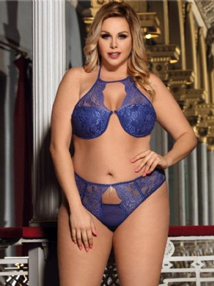 Plus size delicate lace bra set with bra rim and bra pad