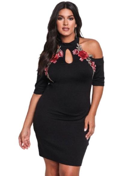 Embroidery Black Mini Dress