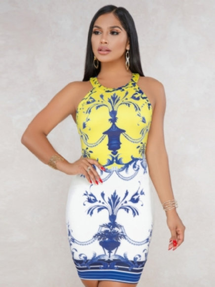 Printed Backless Tight Dress