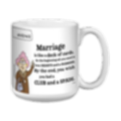 coffee mug with joke about marriage