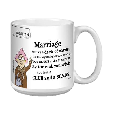 coffee mug with joke about marriage